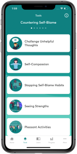 Countering Self-Blame, categories of help listed with an icon