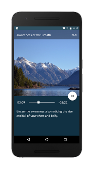 Mindfulness Coach screen: Audio Guided