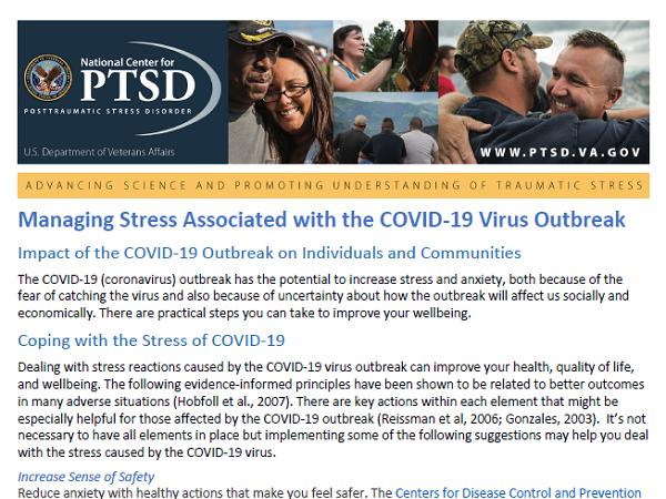 Image of PDF: Managing Stress Associated with the COVID-19 Virus Outbreak