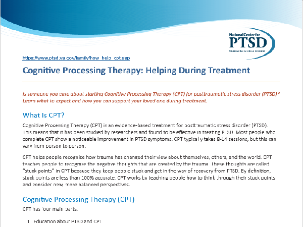 Image of PDF: Cognitive Processing Therapy: Helping During Treatment