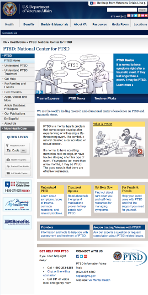 An image of the new National Center for PTSD home page